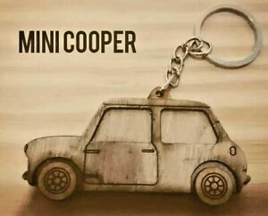 Mini Cooper car wooden keychain keychain handmade custom gift Vehicles Key Tag