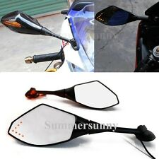 BLACK MOTORCYCLE LED TURN SIGNALS REARVIEW MIRRORS FOR 2011~2013 HONDA CBR250R
