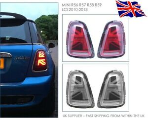MINI R56 LCI 2010-13 - Cooper JCW LED Rear Lights - UK Flag Style RED or SMOKED