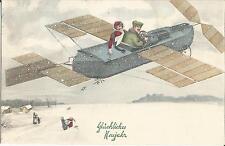 Neujahr, Flugzeug, Flug ins Neue Jahr, alte Wiener-Künstlerkarte von 1911