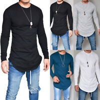 Men Gym T Shirt Longline Slim Fit Muscle Long Sleeve Curved Hem Tee Tops Casu HO