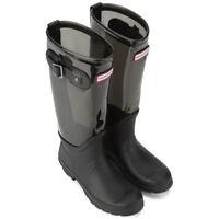 Hunter UNISEX Black Slate Tall Original Clear Leg Nylon Wellies Boots UK 3 TO 7