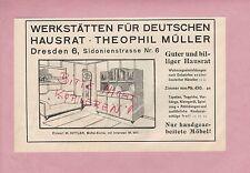 DRESDEN, Werbung 1913, Werkstätten für Deutschen Hausrat Theophil Müller