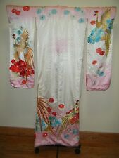 Vintage Pink/White Silk Japanese Kakeshita Wedding Furisode w/ Heavy Embroidery