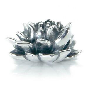 Aurora Zen Meditation Lotus Blossom Flower Sterling Silver Bracelet Charm Bead