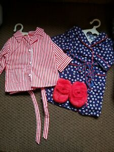 American Girl Molly's Striped Pajamas, Robe and Fuzzy Wuzzies Slippers