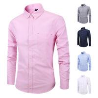 Mens Dress Shirts Long Sleeves Casual Slim Fit Oxford Pocket Business Work K6516