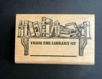 From The Library Of Rubber Wood Stamp Hampton Art USA Bibliophile Books Shelf 97