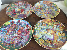 Franklin Mint Cats Plate Bill Bell Set Of 4 Plates #Wh-3
