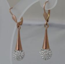 585 Gold Rosegold Rotgold Brisuren Ohrhänger Ohrringe lange Kugel Zirkonia Damen
