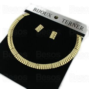 RETRO GOLD TONE FASHION NECKLACE SET square earrings COLLAR metal choker UK