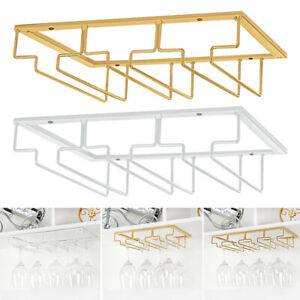 Under Shelf Cupboard Mounted Hanging Wine Rack Glasses Stemware Holder Storage