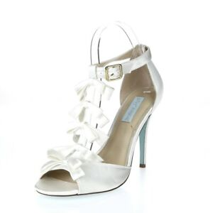 Womens BETSEY JOHNSON White Fabric Buckles T Strap Heels Sandals Size 9 M