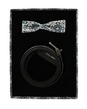 NEW DOLCE & GABBANA Gift Box Set White Blue Silk Bowtie Leather Belt 115cm/46in