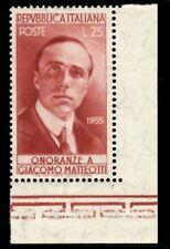 Italia 1955 : Matteotti - nuovo non linguellato, MNH** - angolo foglio