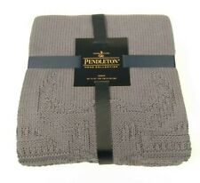 "Pendleton Bison Throw Knit Blanket Navy Blue Cotton Blend 50"" X 70"" NWT New"