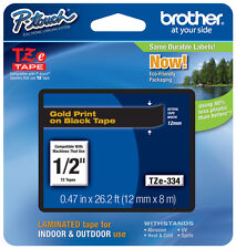 "Brother 1/2"" (12mm) Gold on Black P-touch Tape for PT1090, PT-1090 Label Maker"