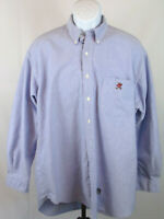 Ralph Lauren Mens Large Big Shirt Bear Logo Blue Long Sleeve Button Dress Shirt