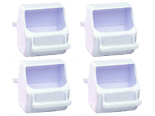 Feeder Cup Seed Water Feed Dish Bird Cage Plastic Feeder, Pack of 4