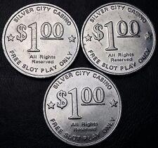 3 Vintage Silver City Casino $1 Dollar Gaming Token Chips, Las Vegas, Nevada