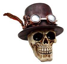 Steampunk Top Hat w Feather Pilot Gear Style Skull Figurine Statue