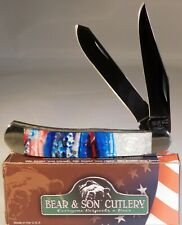 Titanium Trapper Bear & Son Cutlery Gorgeous Red, White & Blue Handle Knife