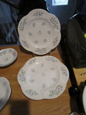 "2 SHELLEY Dainty ""Blue Rock"" 9.5"" Luncheon Plates - Blue Flowers & Trim"
