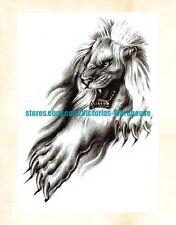 "US Seller- lion 8.25"" large arm tattoo temporary fake tattos"