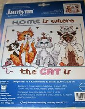 Janlynn Home Is Where the Cat  Is Counted Cross Stitch Kit Cats Kittens New
