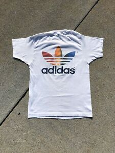 VTG 80's Adidas Rainbow Trefoil Running Shirt - Fits Small