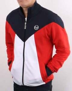 Sergio Tacchini Vero Track Top in Navy White & Red - retro tracksuit jacket SALE