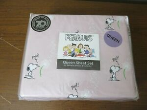 NOS Berkshire Peanuts Queen Sheet Set Snoopy Spring Dandelion Pink Charlie Brown