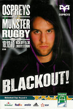 Ospreys V Munster Heineken Cup 18 Dic 2010 Liberty Estadio de Rugby programa