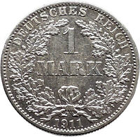 1911 WILHELM II of GERMANY 1 Mark Antique German Empire Silver Coin Eagle i47791