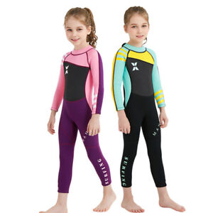 2.5mm Girls Children Kids Swimwear Long-Sleeved Diving Full Wetsuit Keep Warm