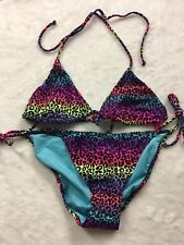 Victoria's Secret Swim Animal Print Bikini Medium Colorful Tie Back Adjustable