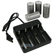 New 4PCS CR123A 123A CR123 16340 2200Mah Rechargeable Battery BTY + UL Charger