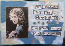 ACEO ATC Art Card Collage Original Ladies Fat Scales Mirrors Photos Photograph