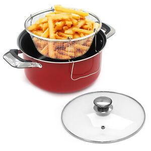 Chip Pan 24cm Deep Fat Fryer Non Stick Casserole Pot Fry Glass Lid Frying Basket