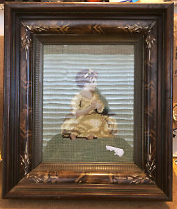"Antique EASTLAKE Victorian Walnut Deep Picture Frame W Needlepoint Girl 12"" X 14"