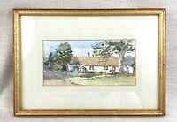 Original Gerahmt Aquarell Malerei Englisch Land Strohgedeckte Hütte Landschaft