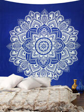 Blue and White Lotus Mandala Tapestry Indian Wall Hanging Cotton Tapestry Throw