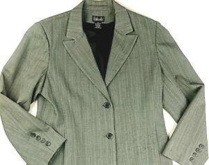 Rafaella 2-Button Blazer Jacket, Business Formal Shoulder Pads Gray Size 10