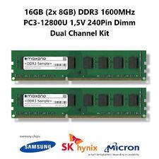 16GB Dual Channel Kit (2x 8GB) DDR3 1600MHz (PC3-12800U) 1,5V 240Pin Dimm