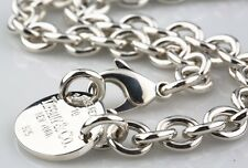 "Tiffany & Co. Sterling Silver ""Return to"" Oval Tag Necklace 15.25"" Retails $425"
