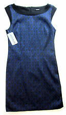 Apriori Kleid 38 Etuikleid Muster blau schwarz Polyester dress robe neu m. Et.