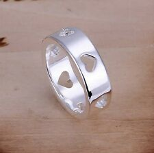 925 Sterling Silver Plated Multi Love Heart cut out Finger/Toe Ring/P, P Q, L, R