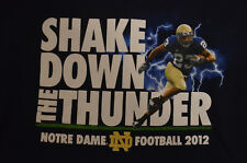 "Notre Dame Fightin' Irish 2012 ""Shaking Down the Thunder"" T-shirt Large Navy Blu"