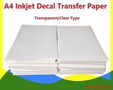 A4 Inkjet Water Slide Decal Paper 20 Sheets Transparent Clear DIY for Inkjet Pri