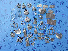 37+ Wedding Charms:Cake,Couple, Glass Slippers,Rings,Just Married Car,Love You+